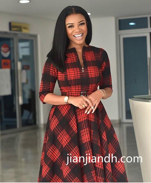 2019 новые дамы темперамент африканская одежда хорошего качества половина молния решетки платье большого размера удобные и элегантные 80997