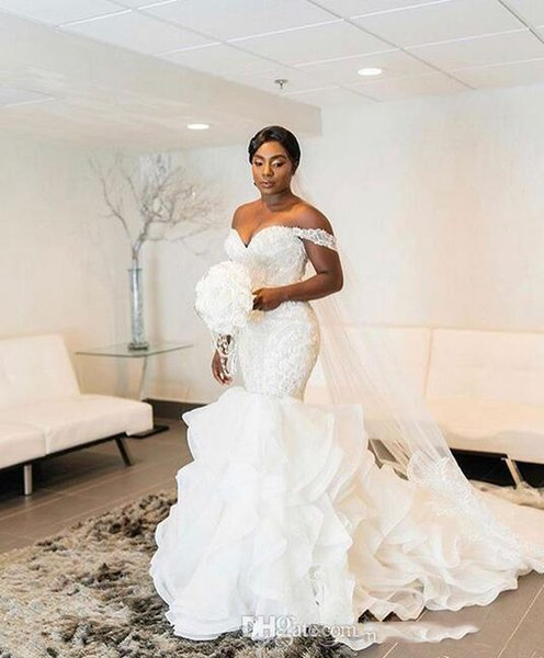 Abiti da sposa a sirena sudafricano Elegante Off sholder Pizzo Organza Increspato Abiti da sposa Becah Abito da sposa su misura taglie forti