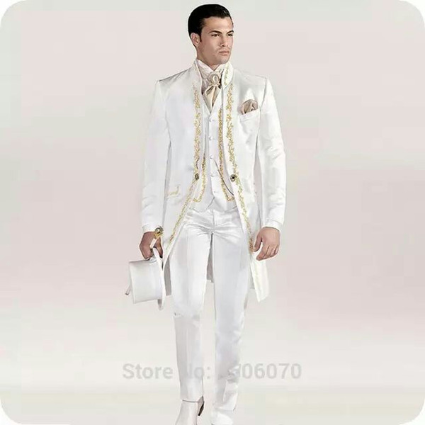 Custom Made White Satin Tailcoat Men Suits Groom Wedding Italian Man Blazer 3Piece Coat Pants Vest Evening Party Costume Homme Prom Party
