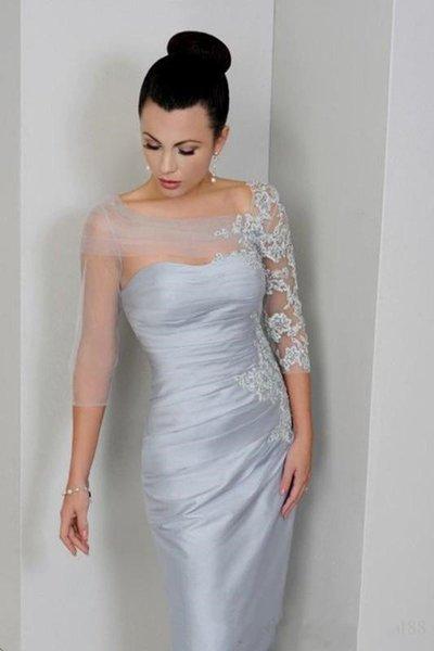 Modest Sheer Neck 3/4 Lange Ärmel Kleider für die Brautmutter 2019 Neue Applikationen geraffte Kurze Partykleider