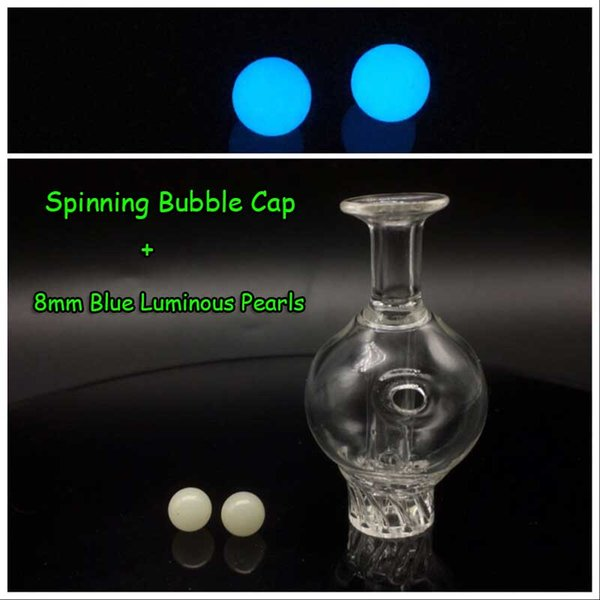 Casquillo de burbuja + 8mm perlas azules