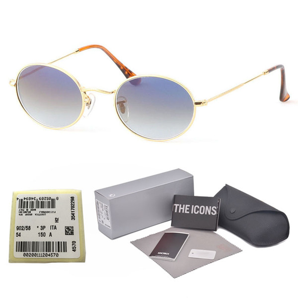 Brand Designer Oval Sunglasses for Men Women Glass lens Retro Vintage Sun glasses Eyewear Shades Oculos with free Retail cases and label