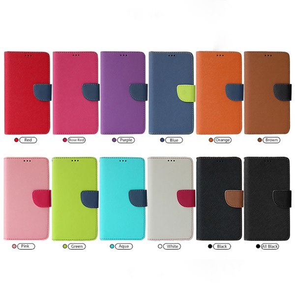 Saffiano Leather Flip Cases Universal Colorblock Folio Wallet with Card Slot Magnetic Closure Bumper Back Cover Kickstand for iPhone Samsung