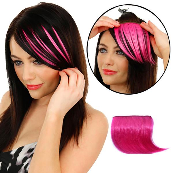 2017 nuove ragazze calde graziose donne clip su clip davanti capelli bang frangia estensione dei capelli pezzo parrucche sottili stand per festa in costume