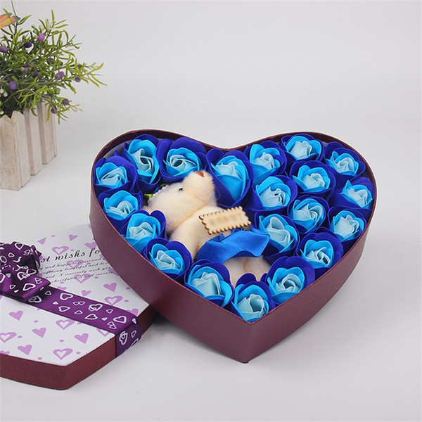 Valentine Teddy Bear Heart Shaped Artificial Rose Craft 20pcs Girlfriend Delicate Color Soap Flower Big Bowknot Gift Box 8 5pg Ww