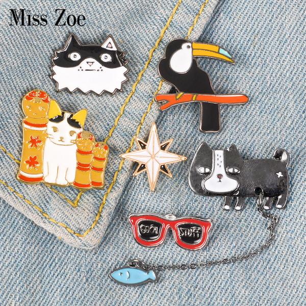 Cuty Animales Esmalte Pins Perro Gato Pájaro Estrella Cosas Frescas Broche Insignia Camisa de Mezclilla Pin de Solapa de Dibujos Animados Joyería Regalo para Niños Niñas
