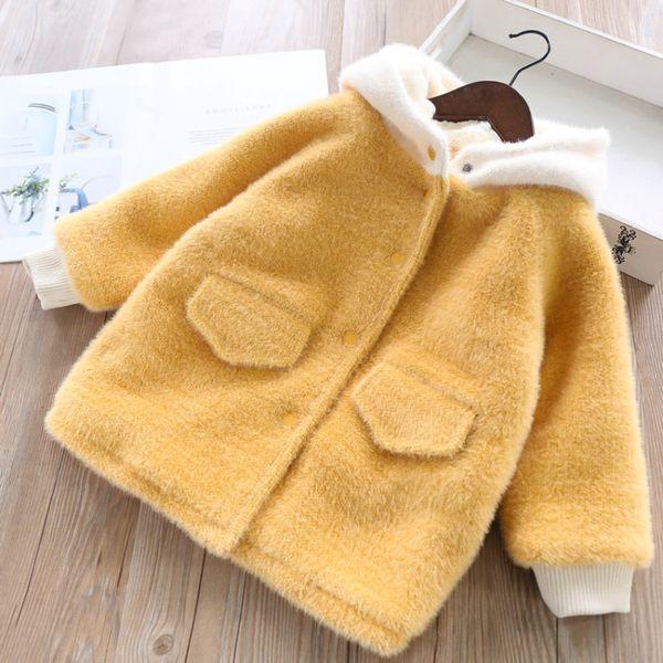 Mädchen Wollmäntel Winterjacken und velet dicke warmer Mantel neue Art und Weise weibliche Kinder wollene Mäntel Kleidungsoberbekleidung