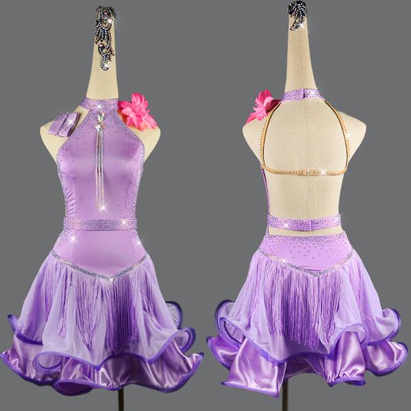 2019 Latin Dance Dress For Women Elegant Purple Fringe Dress Customized Girls Size Party Stage Competition Latin VDB01
