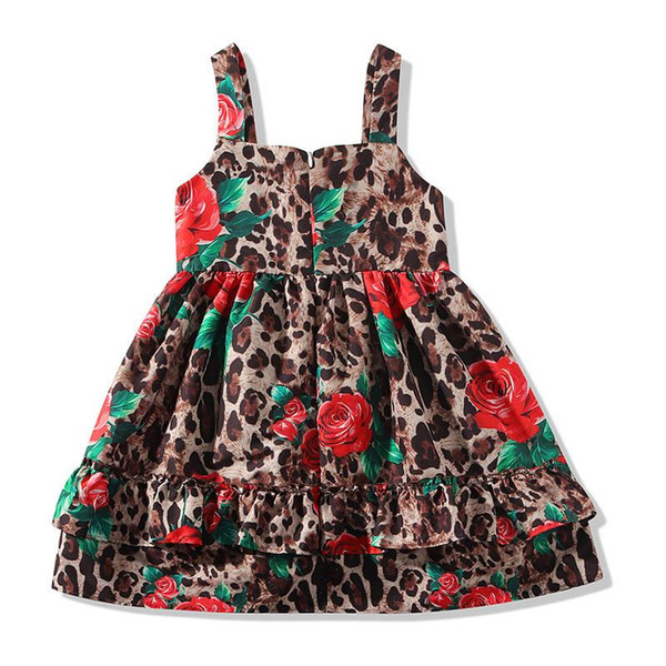 Yeni leopar baskı kızlar elbiseler çocuklar yaz giysileri kızlar Prenses Elbiseler gül çocuklar elbiseler çocuklar giysi tasarımcısı kızlar elbise