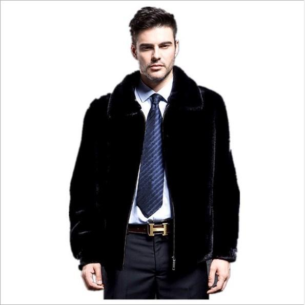 High Quality Thick Warm Black Overcoat For Men 2019 Faux Fur Jackets Coat S-6XL Plus Size Luxury Faux Fur Coat Jackets FW135