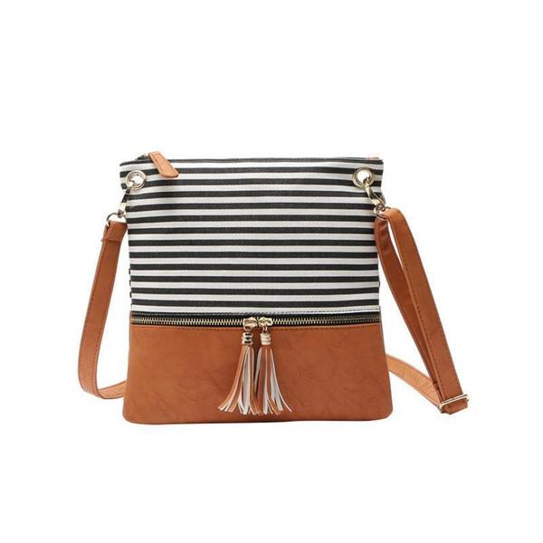 Bolso de hombro de Crossbody de las mujeres de la lona de la costura de la raya de la bolsa de mensajero bolsos de mano de la manera simple de la borla pequeño bolso de la aleta bolsos