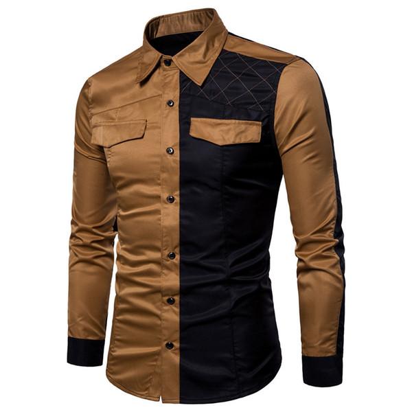 100% Cotton splice Long Sleeve Shirt Men Spring Autumn Casual Business Full Sleeve Shirts Dress Uniform Shirt Plus Size