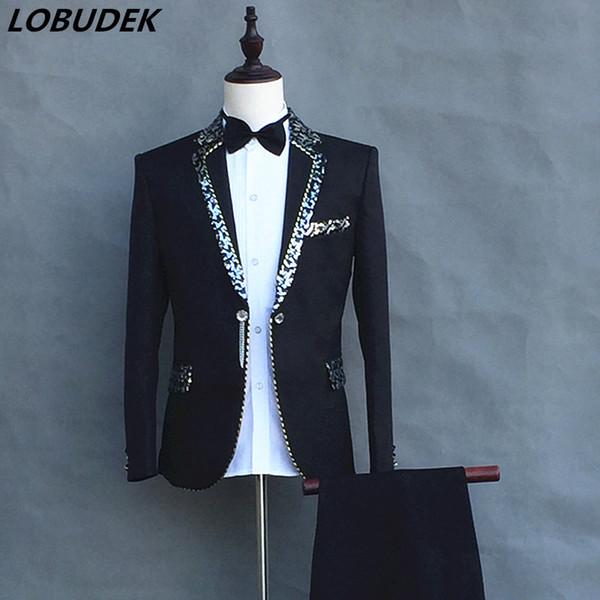 (Jacket+pants) Formal Male slim suits Wedding Groom Party Dress Host singer stage performance Costumes White Sequins Blazer sets