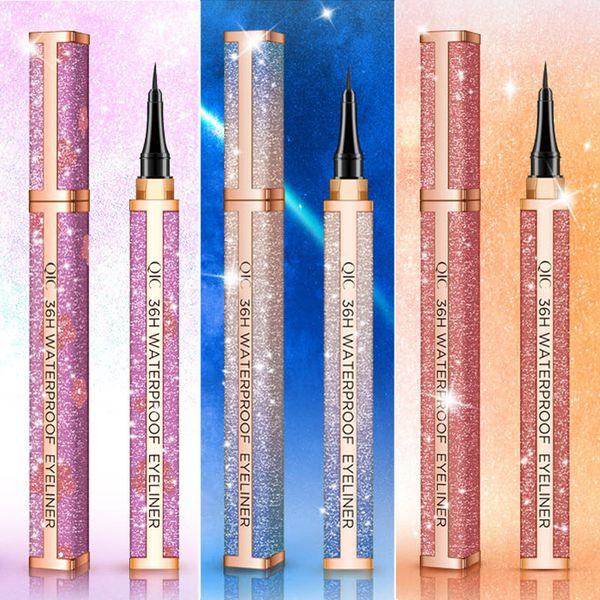 2019 Nuevo QIC Impermeable Starry Sky Eyeliner Pencil 24 horas Líquido de larga duración Black Eye Liner Pen No florece Ojos lisos Herramientas de maquillaje