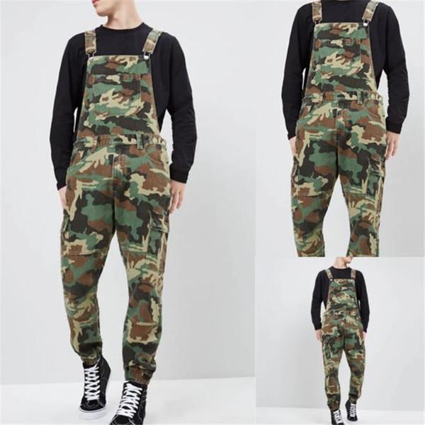 Camouflage Denim Mens Overalls Designer Printed Jeans Jumpsuits Fashion Slim Male Long Pants
