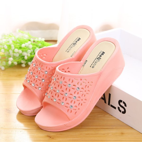 FEERIJT NEW 2019 summer fashion high heel women's shoes PVC wedges cool laces diamond sandals women's shoes large size 35-43