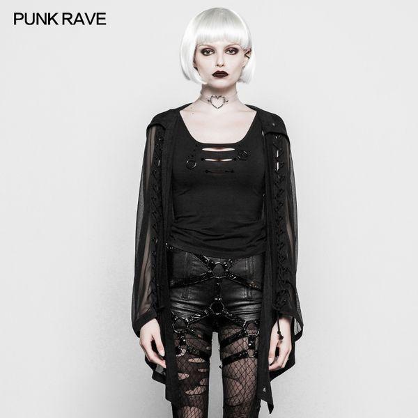 PUNK RAVE Femme Irrégulier Punk Rock Cardigan Mode Protection Solaire Outwear À Capuche À Manches Longues Veste Manteau
