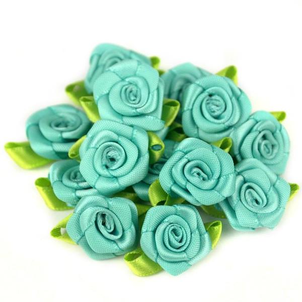 50PCS 2cm soie artificielle Mini Chefs Fleurs Rose Faire ruban de satin bricolage scrapbooking appliques pour décoration de mariage