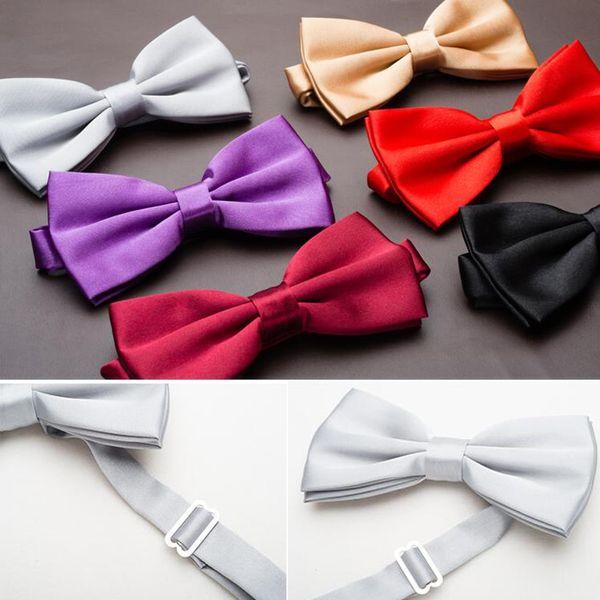 Hot Satin Mens Bow Tie Solid Color Party Ball Wedding Formal Adjustable Clip-on Pre-tied Neckties Men Bowtie Ties YJB0001a
