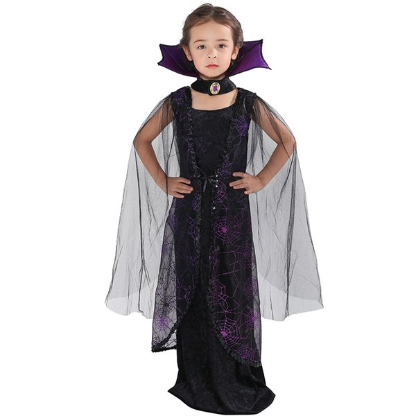 heap Girls Costumes Eraspooky 2018 Purple Spider Vampire Cosplay Girls Halloween costume for kids Lace Cape Long Dress Carnival Party Que...
