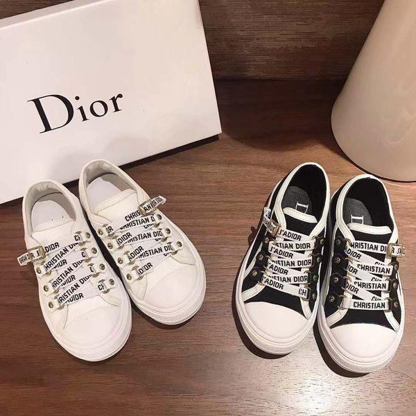 Elastik tasarım ayakkabısız erkekler ve kızlar moda rahat ayakkabılar için Çocuk tasarımcı ayakkabıları siyah ve beyaz iki renk 26-35 Eursize
