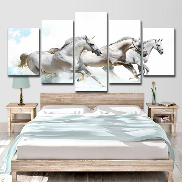 HD Stampato 5 Pezzo Su Tela Cavalli In Esecuzione Carving Immagini A Parete per Soggiorno Moderna Spedizione Gratuita Tela Pittura