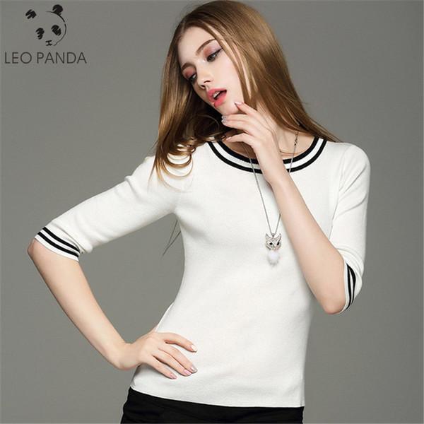 2019 nuevo otoño o-cuello suéter de algodón de punto suéter de mujer suéteres de media manga tops primavera damas ropa de punto a rayas delgadas
