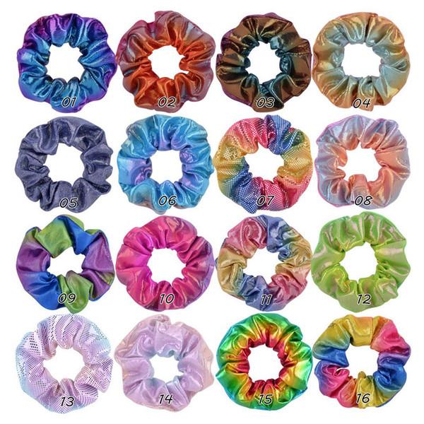 Kızlar Kadınlar Lazer Scrunchies Pu Deri hairbands Gradient Renk Elastik Saç Bantları Kafa at kuyruğu Tutucu Halat Bağları 16 Renkler A101501