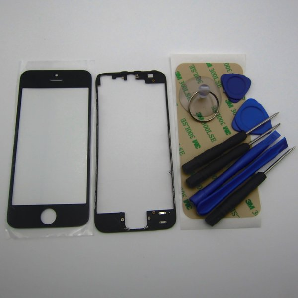 Front LCD touch Screen Glass Lens with middle frame bezel housing Replacement Parts for iPhone 5 5S 4 4S & 3m sticker +