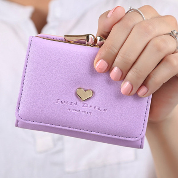 HEFLASHOR Wallet Female PU Leather Women Wallets Hasp Coin Purse Wallet Female Vintage Fashion Women Small Card Holder