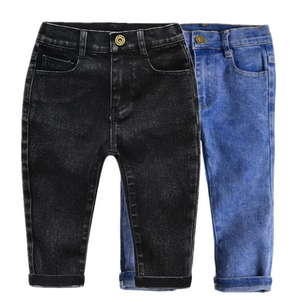 Baby Boys Girls Jeans Pants 2019 Spring Kids Trousers Fashion Casual Elastic Pants Toddler Bottom Children Clothing Denim Pants 2-7Y