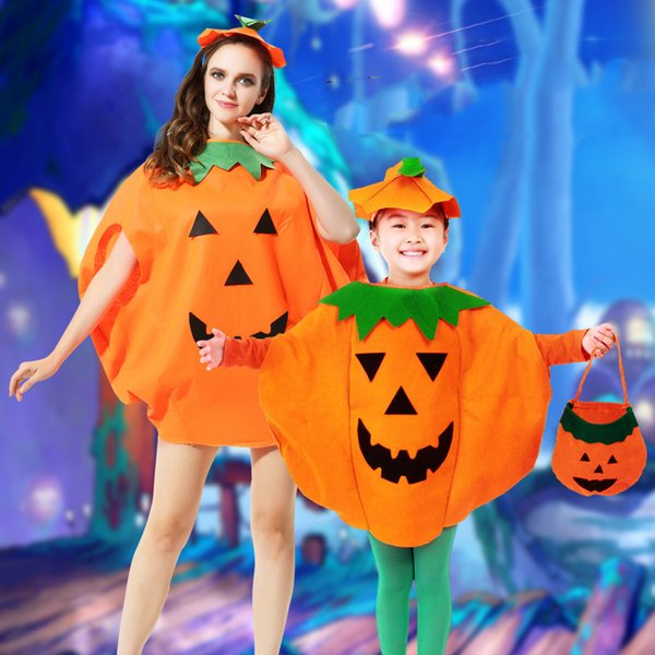 Ghost Festival Pumpkin Set Cartoon Family Matching Outfits Halloween Pumpkin Makeup Costume Mother Daughter Son Pumpkin Devil Hat Clothing