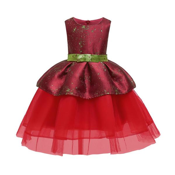 Yeni Küçük Prenses Pretty Adil Bayan Yay Çiçek Bebek Kız Prenses Nedime Pageant elbise Doğum Günü Partisi Gelinlik