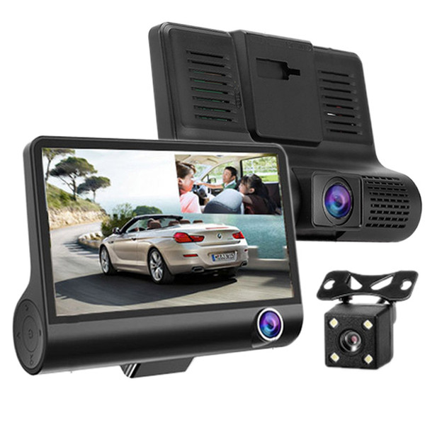 Kaneed 4.0 inch IPS Screen 5.0 Mega Pixels 170 Degrees Wide Angle Full HD 1080P Exclusive 3 Channels Video Car DVR