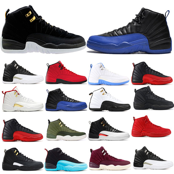 AriaRetrojordan 12s 12 Reverse Taxi Ball Game reale mens scarpe da basket francese Blu FIBA GYM rosso ciliegia Grey Sneakers
