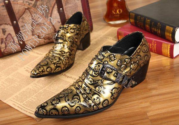 bueno tecnicas modernas nueva colección Compre 2019 Zapatos Hombre Rock Zapatos Dorados Para Hombre Calaveras En  Punta Para Hombre Zapatos De Piel Para Hombre, Zapatos De Ocio Oro / Negro,  ...
