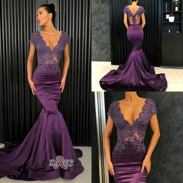 2019 Purple Evening Dresses V Neck Lace Appliqued Beads Satin Sweep Train Custom Made Mermaid Prom Dress Elegant Special Occasion Dress