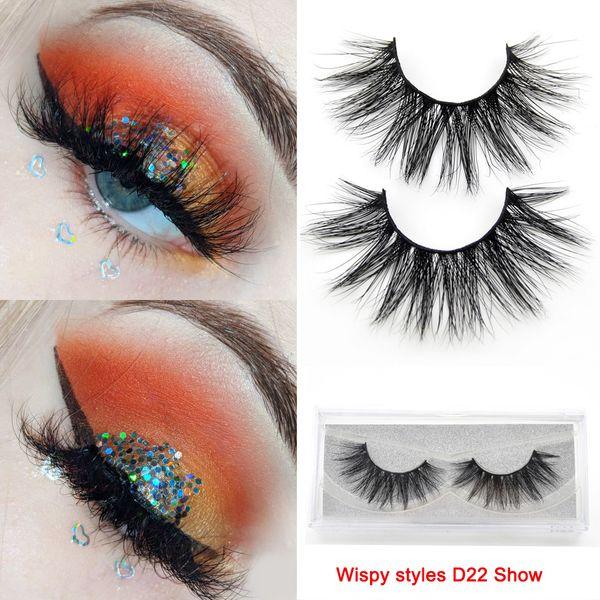 Wispy 3d cílios vison longa duração cílios natural dramático volume cílios extensão cílios postiços D22