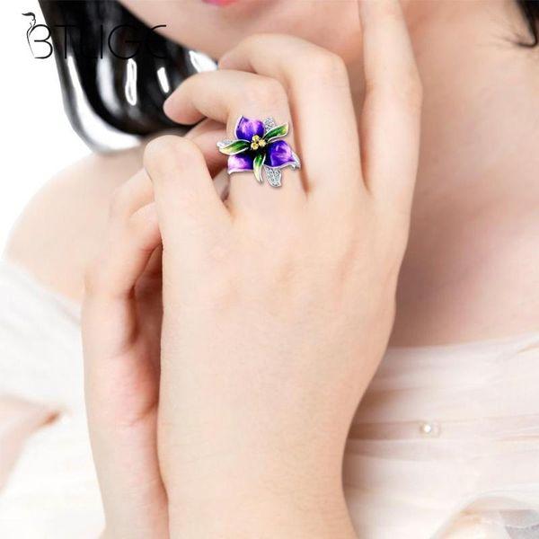 Purple Enamel Flower Rings For Women Crystal Ring Delicate Fashion Finger Jewelry