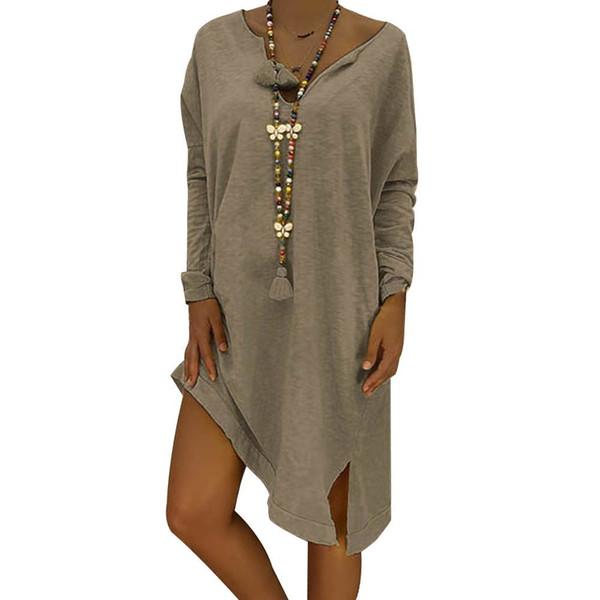 Sales Hot Women Casual Dress Loose Long Sleeve Cotton Solid Dress Ladies Neck Casual Long Tops Dress Plus Size designer clothes