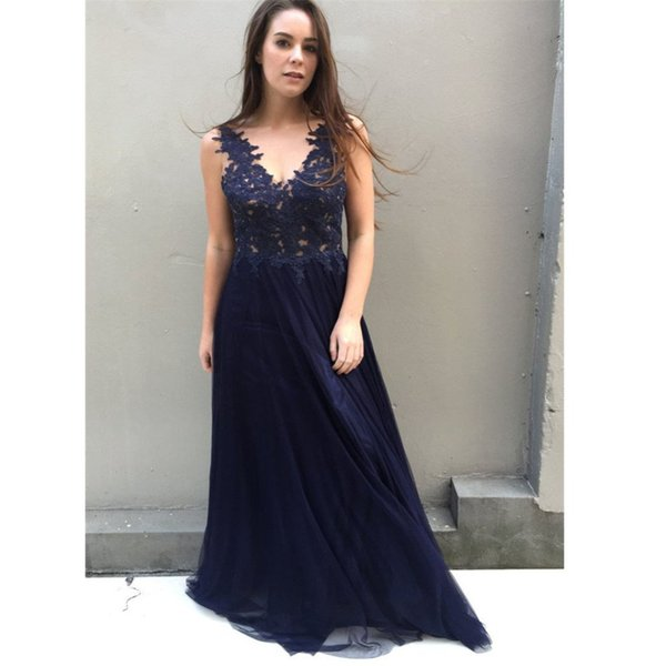 Dark Navy Prom Dresses 2019 Sexy V Neckline Beaded Lace Cheap Formal Evening Gowns Long Cocktail Party Dress Celebrity Red Carpet Gown