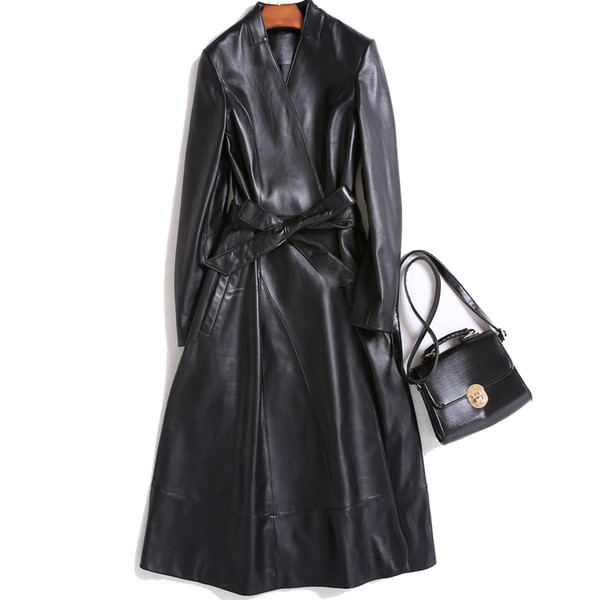 Real Pure Natural Fur Genuine Leather Jacket Women Sheepskin Coat Winter Jacket Women Trench Coat Korean Elegant Long ZT544