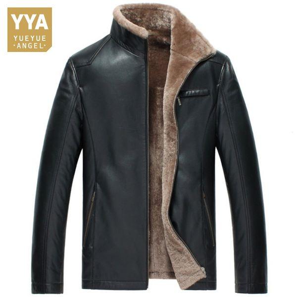 Warm Black Winter Men Slim Real Leather Shearling Jackets Men Wool Liner And Collar Luxury Male Sheepskin Genuine Leather Coat