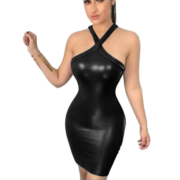 Womens Summer Halter Sexy Dresses Sleeveless Backless Bodycon A Line Fashion Clothing Night Club Casual Apparel