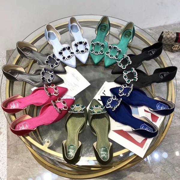 5A Qualität des eleganten Mode-Hufeisen-Knopf-Entwurfs für neue Frauen Anti-Rutsch verschleißfeste einzelne Schuhe Strassschnalle numbe:
