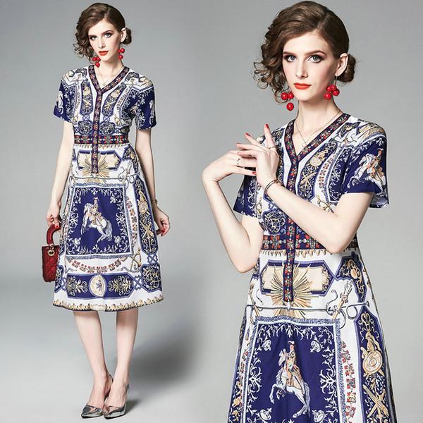 Posicionamiento de impresión de manga corta vestido de mujer con cuello en v vestido midi de verano elegante de cintura alta vestidos de dama vestidos de noche de fiesta