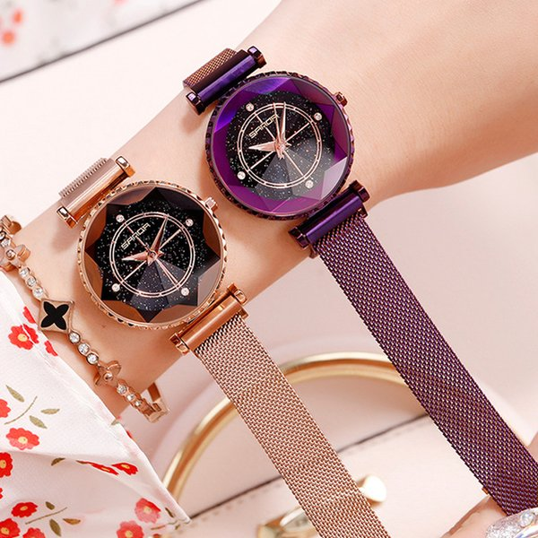 Sanda Diamond Crystal Ladies Watches top  Magnet buckle Quartz Women Watches Star Sky Female Clock montre femme