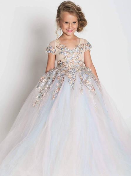 Tulle Bambina Applique Bead vestiti dal fiore per le ragazze lungo spettacolo abito Abiti Occasioni Speciali For Wedding