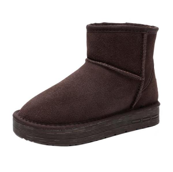 Kadınlar için 8 cm deri örtüsü ve polar su geçirmez kar ayakkabıları bir iç yüksekliğe sahip Kış kar botları yeni kadın kalın tabana vurma kar ayakkabıları