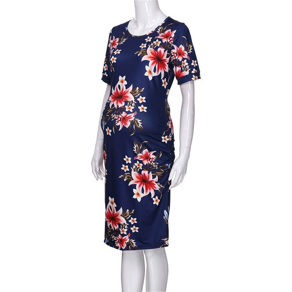 45970b0c9a7ab Summer Maternity Clothes Fashion Women Pregnants Maternity Floral Print  Short Sleeve Sheath Dress Casual Pregnancy Dress JE22#F